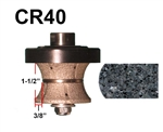 "CR40 Router bit for Granite, Marble, Concrete and Engineered Stone Router Bit 5/8""-11 Thread"
